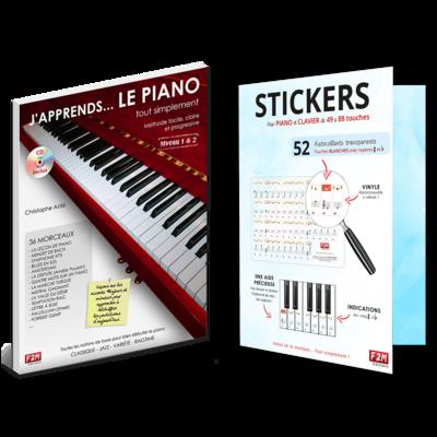 Offre DUO - J'apprends LE PIANO tout simplement - Vol 1 + Stickers pour PIANO et CLAVIER de 49 à 88 touches