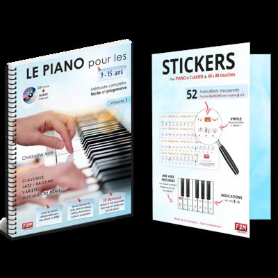 Offre DUO - LE PIANO pour les 9/15 Ans - Vol 1+ Stickers pour PIANO et CLAVIER de 49 à 88 touches