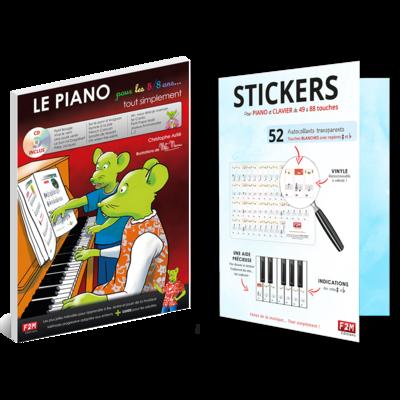 Offre DUO - LE PIANO pour les 5/8 Ans + Stickers pour PIANO et CLAVIER de 49 à 88 touches
