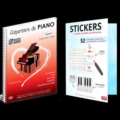 Offre DUO - Répertoire de PIANO - Vol 1 + Stickers pour PIANO et CLAVIER de 49 à 88 touches