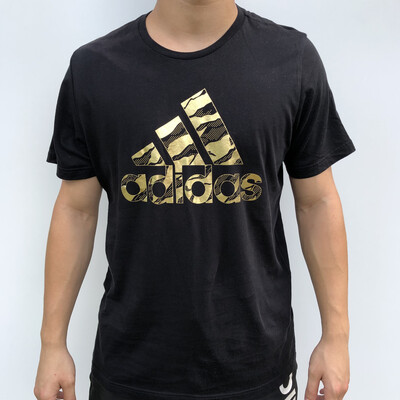 ADIDAS Gold Spellout T-Shirt - Size: M / 6-10