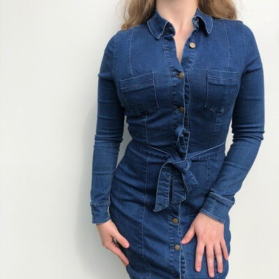 KOOKAI Denim Button-Up Dress: SIZE 6-8