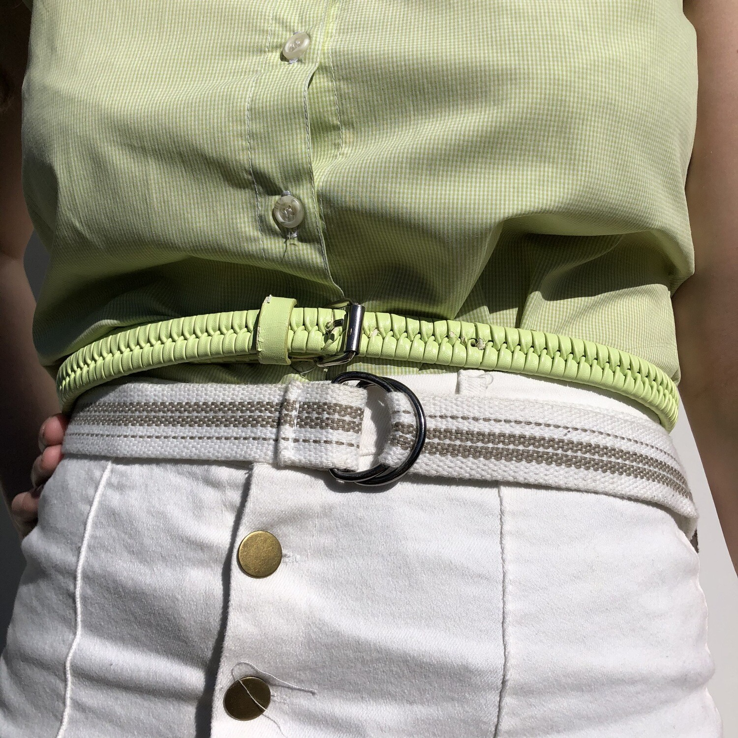 RETRO LIME GREEN Buckle Belt: SIZE 6-10
