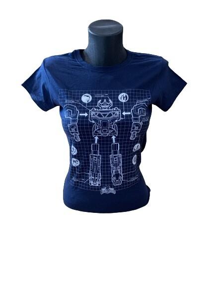 Ladies' Power Rangers Megazord White Print T-Shirt