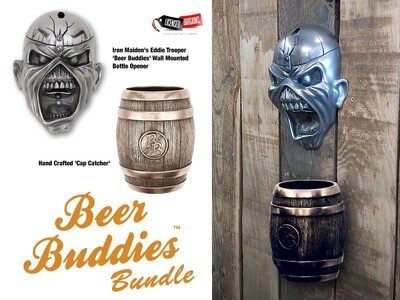 Iron Maiden's Eddie Trooper 'Beer Buddies' Wall Mounted Bottle Opener PLUS Cap Catcher Bundle