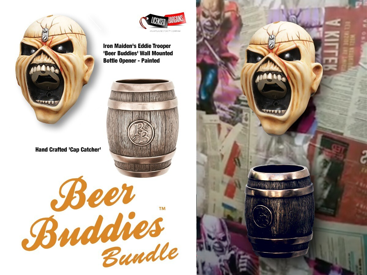 Painted Iron Maiden's Eddie Trooper 'Beer Buddies' Wall Mounted Bottle Opener PLUS Cap Catcher Bundle