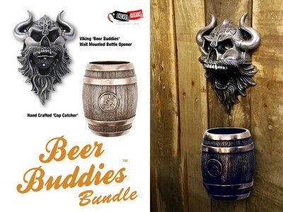 Viking 'Beer Buddies' Wall Mounted Bottle Opener + Cap Catcher Bundle