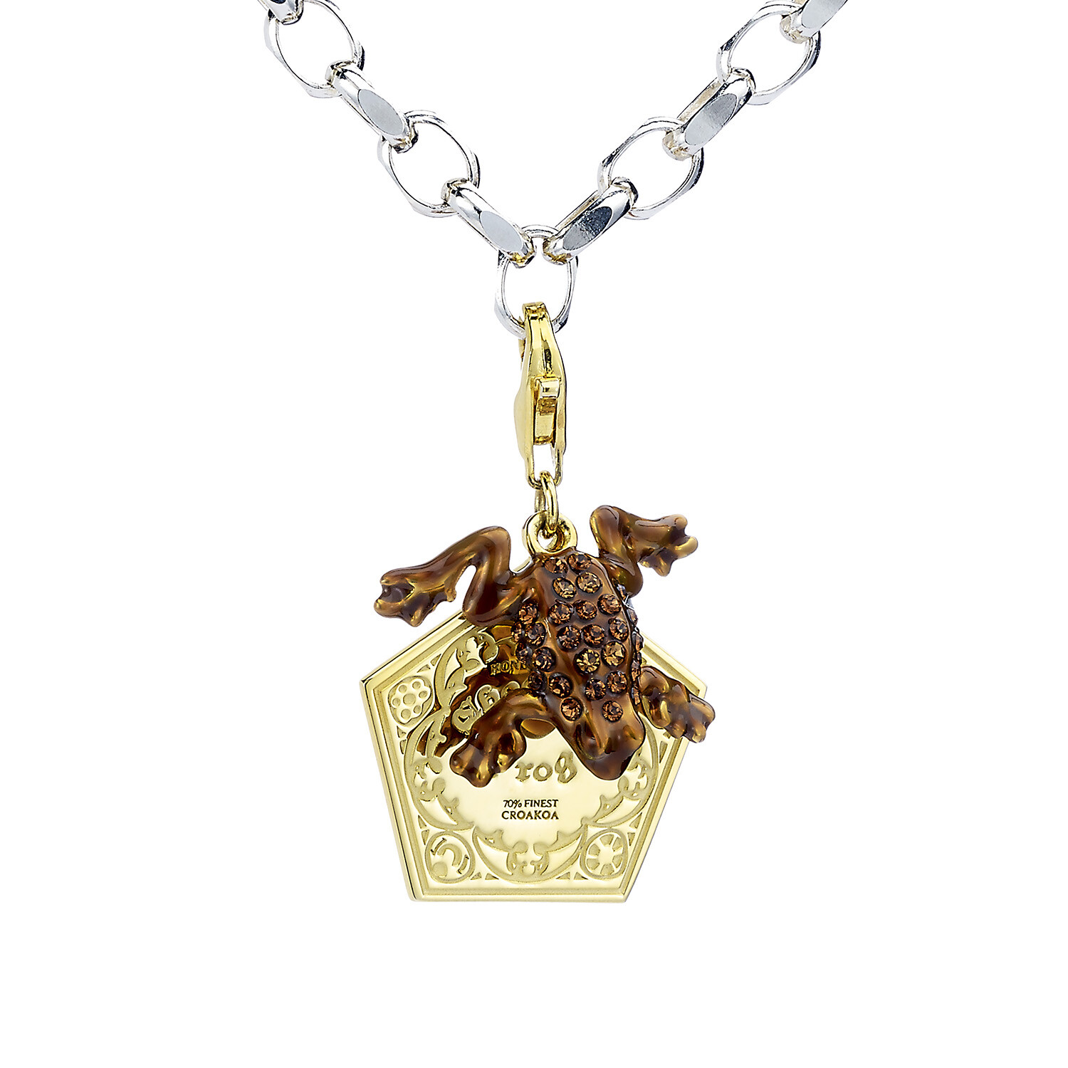 Sterling Silver with Gold Plate Chocolate Frog Clip On Charm (Pandora Compatible)