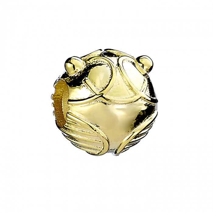 Sterling Silver Golden Snitch Spacer Bead with Gold Plate (Pandora Compatible)