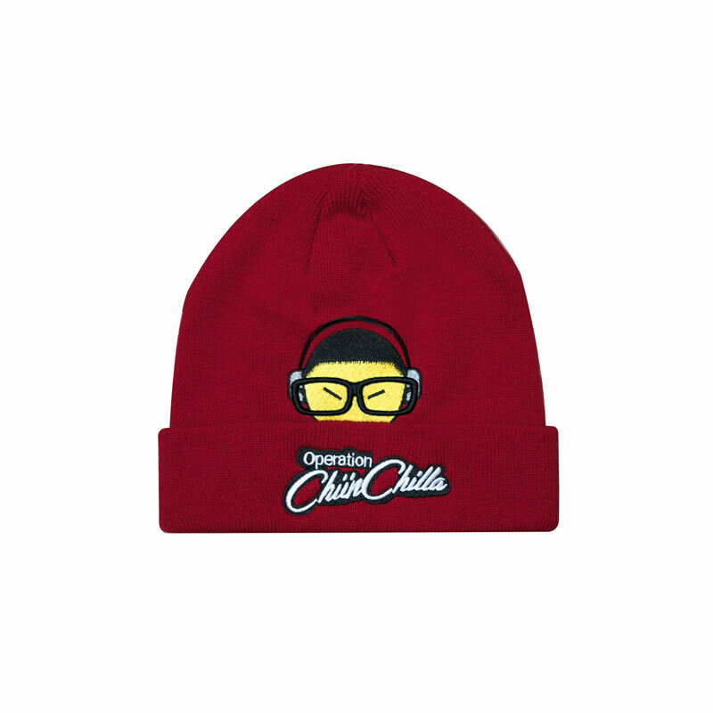 Chiin Chilla cuff beanie with Script