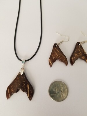 Coconut Whale Tail Earring Necklace Kit