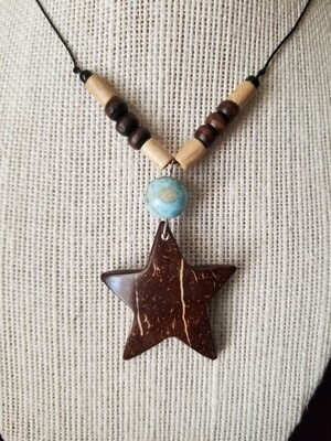 Coconut Star Larimar Necklace Earrings set