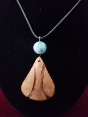 Coconut Paddle Larimar Necklace Earrings