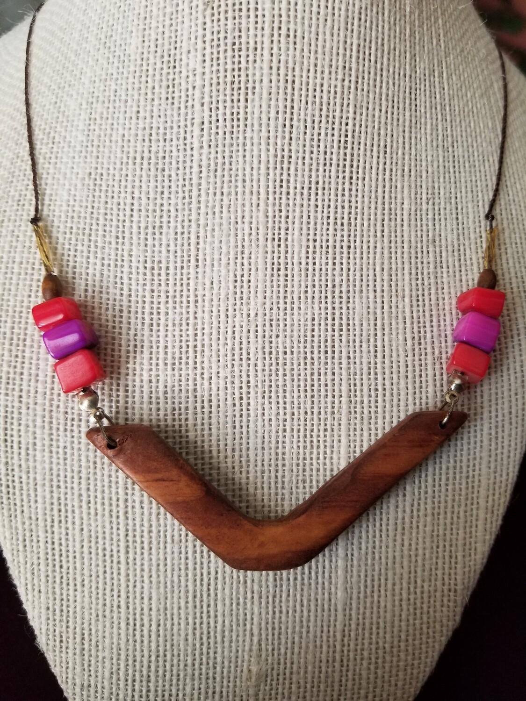 Wood Boomerang Necklace