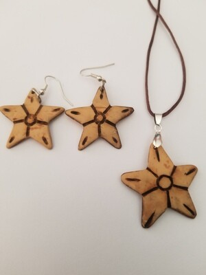 Coconut Star Necklace Earring Set
