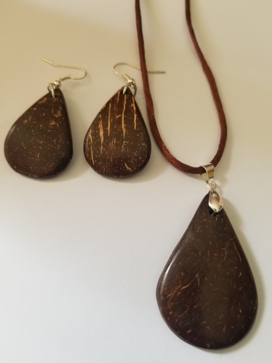Coconut Paddle Necklace Earring Set