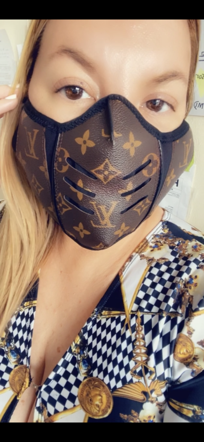 BROWN LV  LEATHER MASK