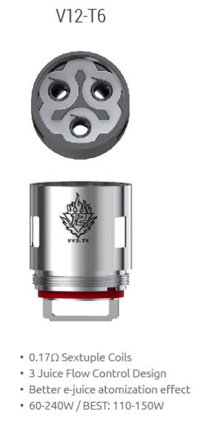 Smok V12 T6 Replacement Coil .17ohm