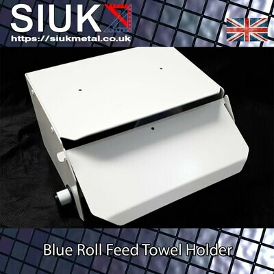 Blue Paper Towel Dispenser Roll Feed Holder Wall Mount with Flap