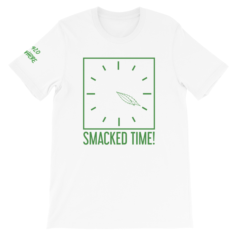 Smacked Time White T-Shirt with Write Sleeve and Logo inside tag