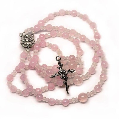 Rose Quartz Rosary with Pouch