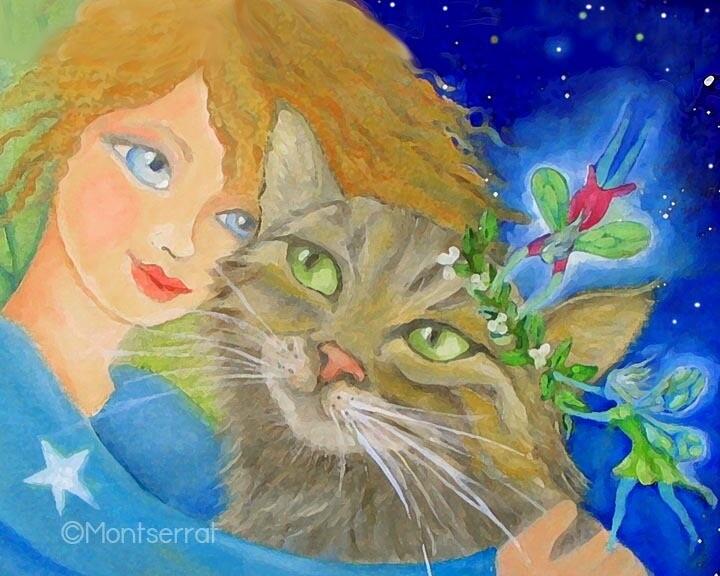 Fairies Love Cats Post Card by Montserrat