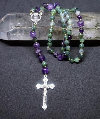Moss Agate and Amethyst Rosary
