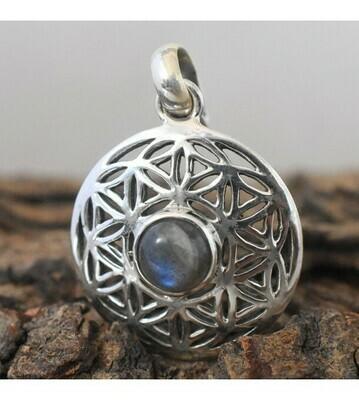 Labradorite Flower of Life Pendant in Sterling Silver