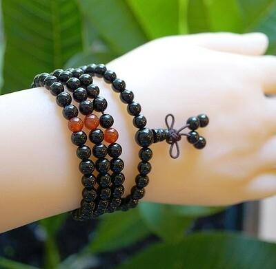 Obsidian Carnelian Elastic 108 Prayer Beads
