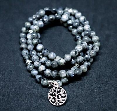 Larvikite Elastic 108 Prayer Beads