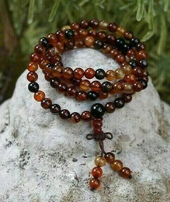 Carnelian Elastic 108 Prayer Beads