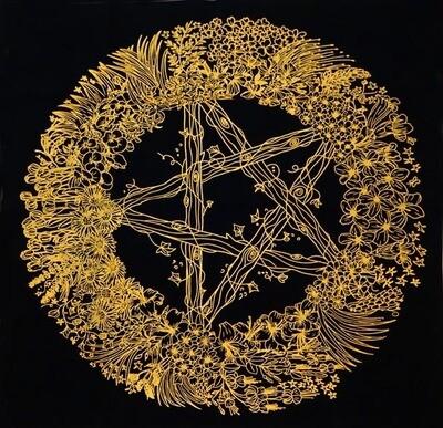 Pentagram table altar cloth