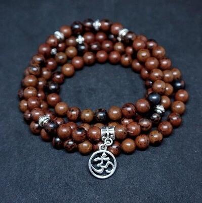 Mahogany Obsidian OM Prayer Beads