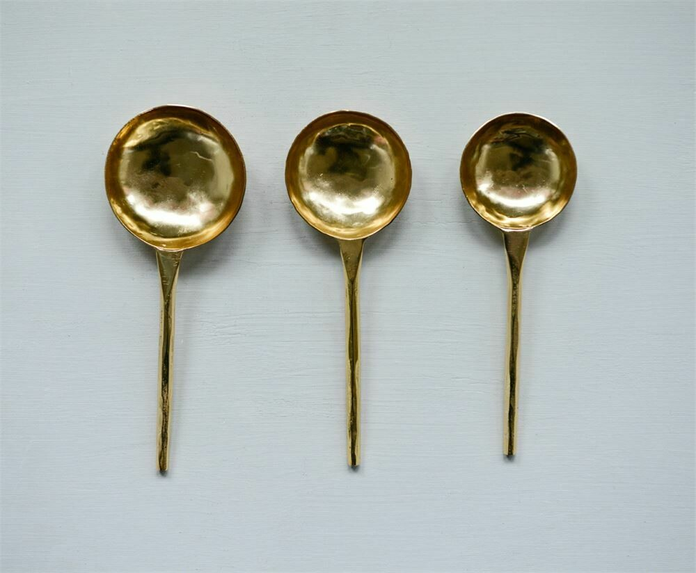 Brass Colored Stainless Steel Spoons Set If 3