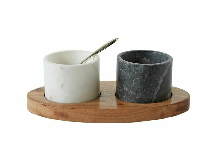 Marble Salt & Pepper Bowls On Wood Tray