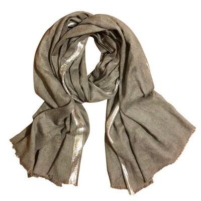Metallic Edge Cotton Scarf Dark Grey