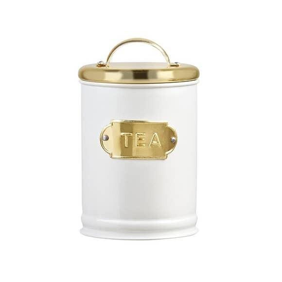 White & Gold Metal Tea Tin