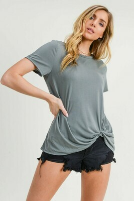 Twisted Bottom Tee- Sage