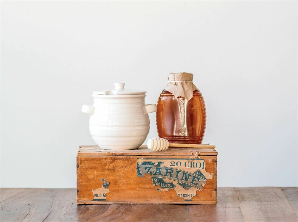 Stoneware Honey Jar w/ Wood Dipper