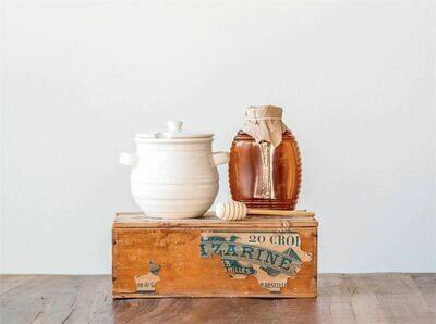 Stoneware Honey Jar w/ Wood Dipper