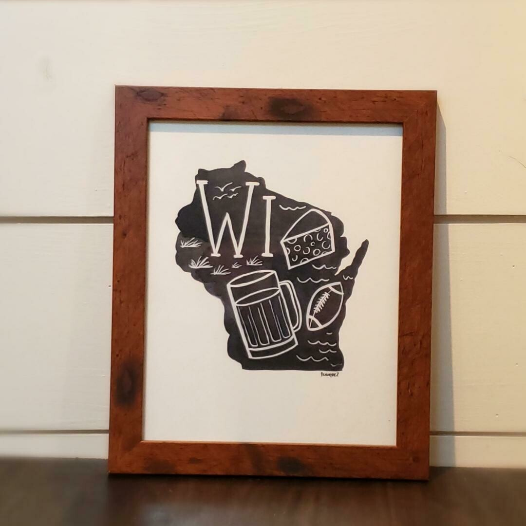 Framed Wisconsin Print