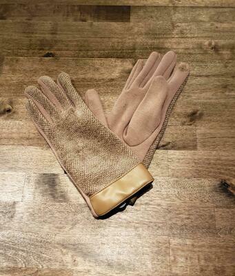 Leather Trimmed Chenille Gloves- Olive& Pique Beige