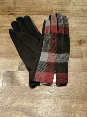 Gloves Charcoal Plaid