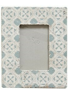 Cement Frame Holds 4x6 Photo Floral Inspired