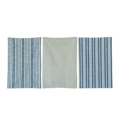 Blue Accent Tea Towel Set Of 3