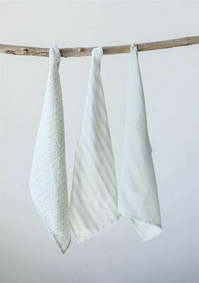 Green Accent Tea Towel Set Of 3