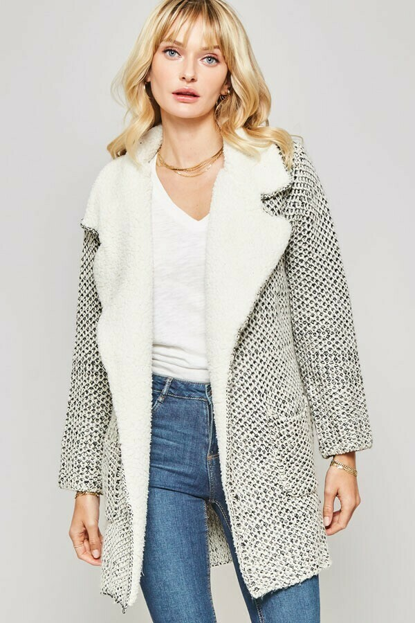 Two Toned Crochet Knit Cardigan