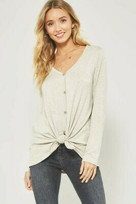 Vneck Long Sleeve Tee w/ Button Front and Knotted Hem Detail- Promesa Oatmeal Large