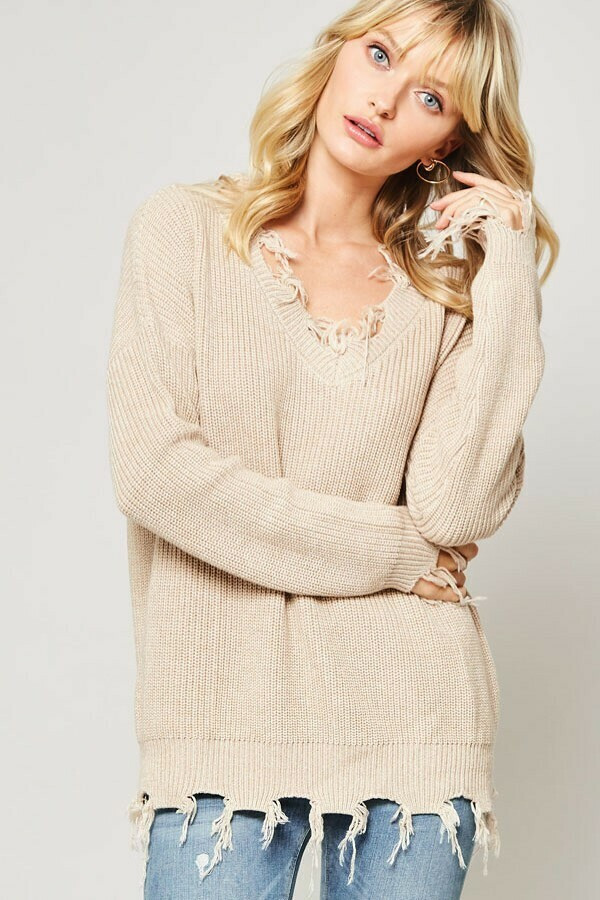 Solid Knit Sweater w/ Distressed Detail Medium/ Large Taupe