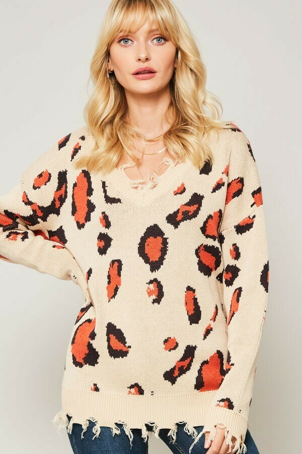 Solid Knit Sweater w/ Distressed Detail- Animal Print